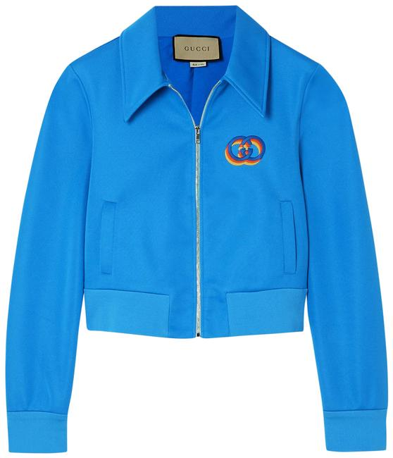 Item - Blue Jersey Cropped Embroidered Tech-jersey Jacket Size 12 (L)