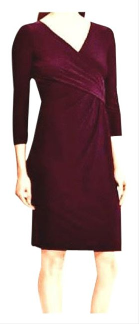 Item - Aubergine Faux Wrap Knit Mid-length Work/Office Dress Size 10 (M)