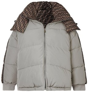 Item - Light Gray Reversible Hooded Printed Quilted Shell Down Jacket Coat