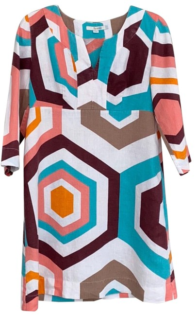 Item - Brown/Orange/Turquoise Na Mid-length Short Casual Dress Size 6 (S)