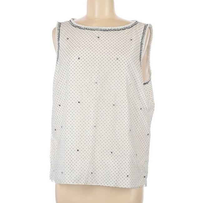 Item - White Black Couture Beaded Tank Top/Cami Size 12 (L)