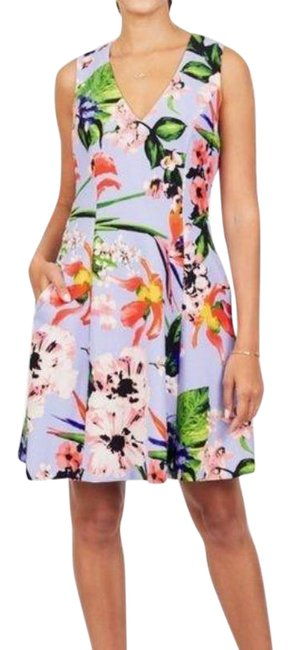 Item - Purple Blue Floral Fit & Flare Sleeveless Mid-length Short Casual Dress Size 10 (M)