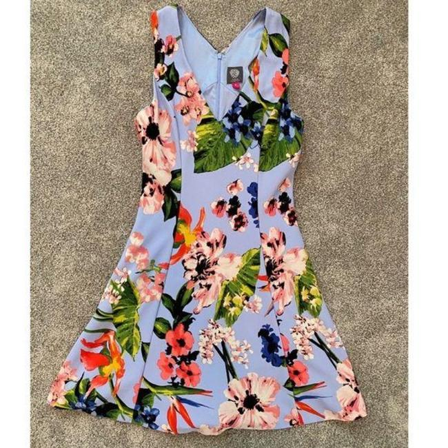 Vince Camuto Purple Blue Floral Fit & Flare Sleeveless Mid-length Short Casual Dress Size 10 (M) Vince Camuto Purple Blue Floral Fit & Flare Sleeveless Mid-length Short Casual Dress Size 10 (M) Image 4