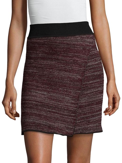 Item - Maroon Burgundy Purple Cashlin Wrap-effect Stretch-knit Skirt Size 8 (M, 29, 30)