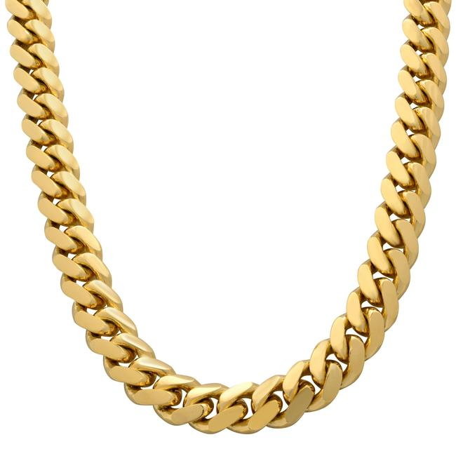 Item - 14k Yellow Gold Solid Miami Cuban Link Chain 14mm Necklace