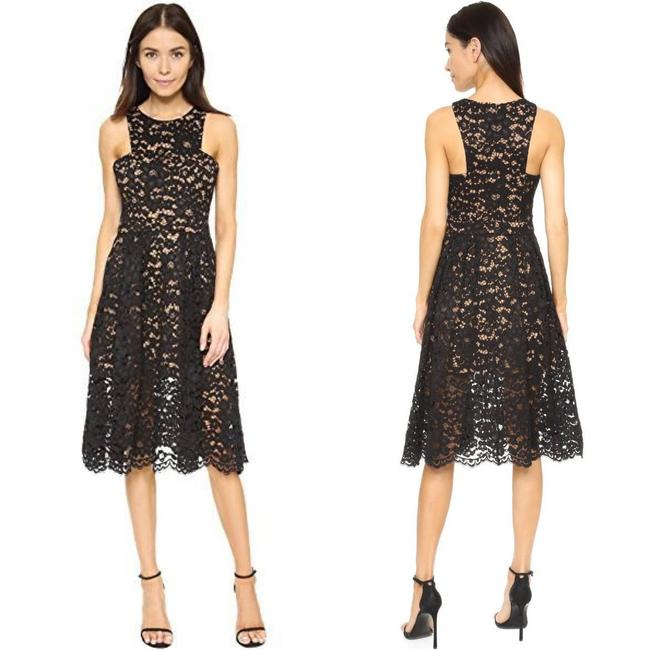 Item - Black Embrace Lace Midi Women Msrp Mid-length Formal Dress Size 4 (S)
