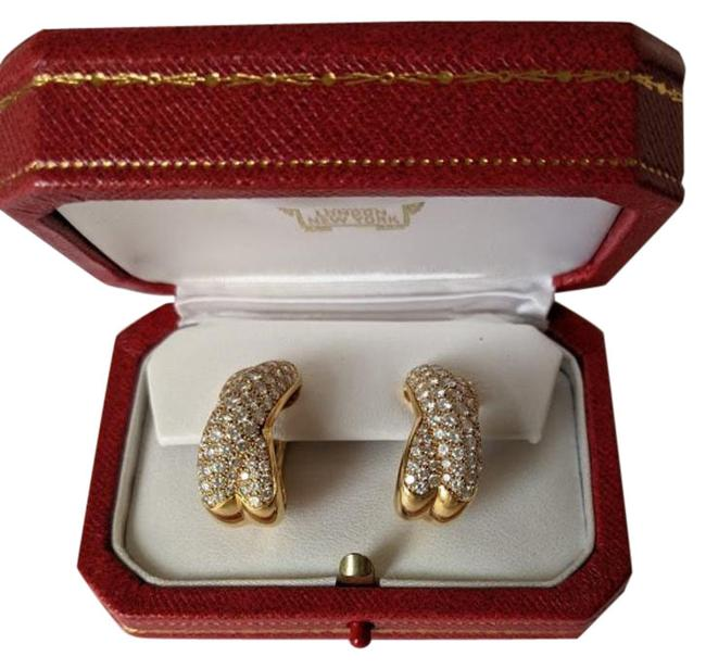 Item - Yellow Paris Diamond Paved 18 Kt Gold Collisee Crossover Earr Earrings