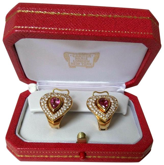Item - Yellow Unique Earrings-18kt Gold-pink Pear-shape Tourmaline & Pave Di Earrings