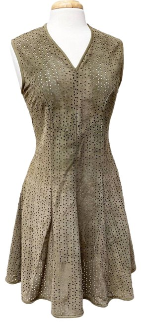 Item - Green Suede Laser Cut Olive Small Short Casual Dress Size 4 (S)