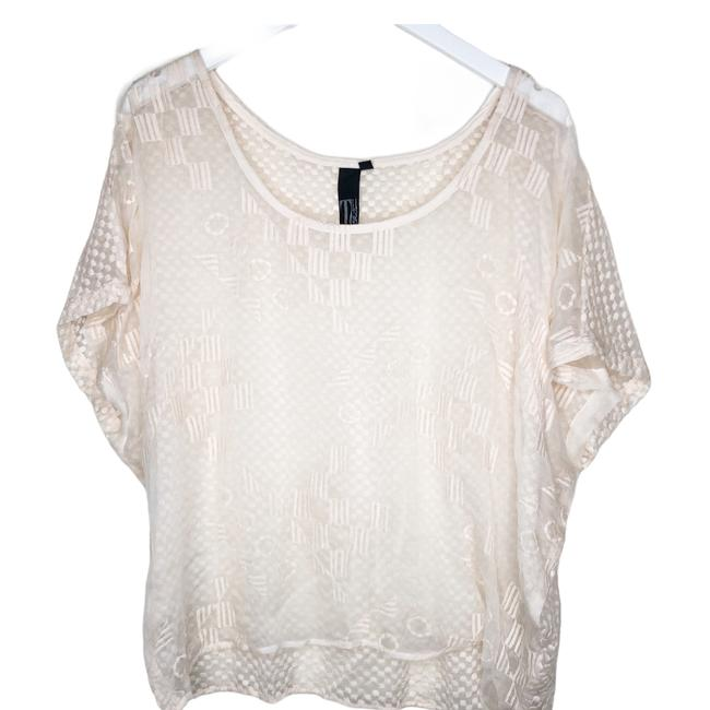 Item - Cream Anthro Tj Sheer Silk Embroidered Dolman Sleeve Tank Top/Cami Size 10 (M)