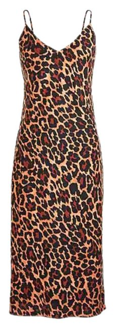 Item - Leopard Slip Mid-length Night Out Dress Size 4 (S)