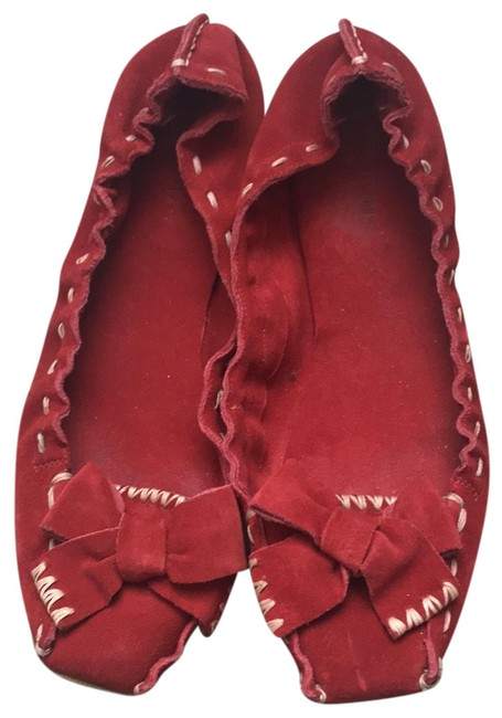 Item - Red Suede Flats Size EU 39.5 (Approx. US 9.5) Regular (M, B)