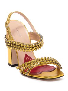 Item - Gold Bertie Crystal Strappy Leather Sandals