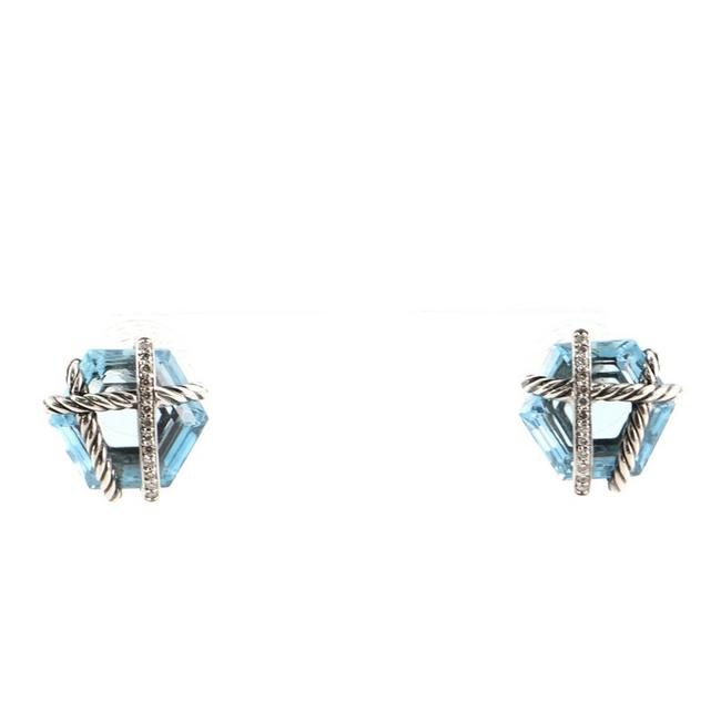 Item - 14k White Gold Cable Wrap Stud Sterling Silver with Diamonds and Blue Topaz Earrings