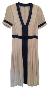 Other 1940's Small Sheer Beige Navy Accents Dress