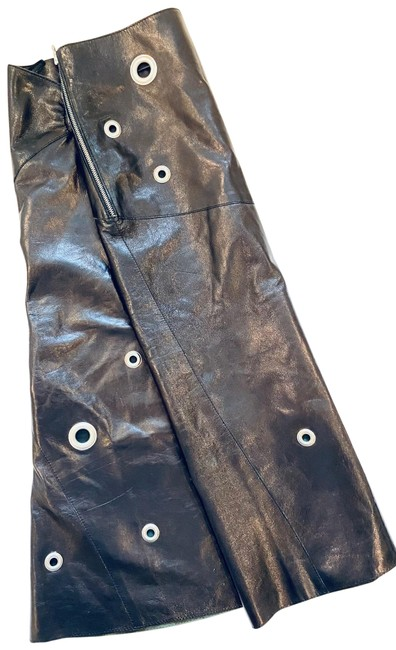 Item - Brown Leather Mid-length Silver Grommet Skirt Size 8 (M, 29, 30)