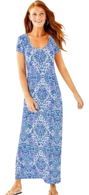 Item - Blue/White Wynne Resort Call My Shell Phone Long Casual Maxi Dress Size 2 (XS)