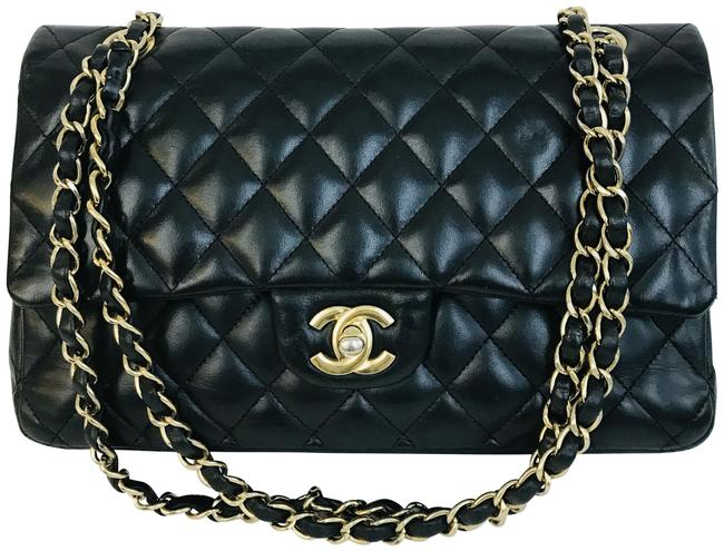 Chanel Classic Double Flap Lambskin Quilted Medium Black Leather Shoulder Bag Chanel Classic Double Flap Lambskin Quilted Medium Black Leather Shoulder Bag Image 1