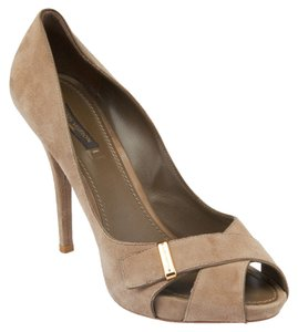 Louis Vuitton Lv Suede Heels Peep Toe Grey Pumps