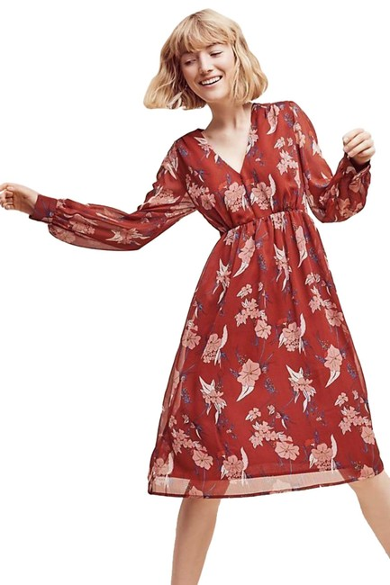 Item - Red Motif Riverwind Peasant By Eri + Ali Mid-length Short Casual Dress Size 4 (S)