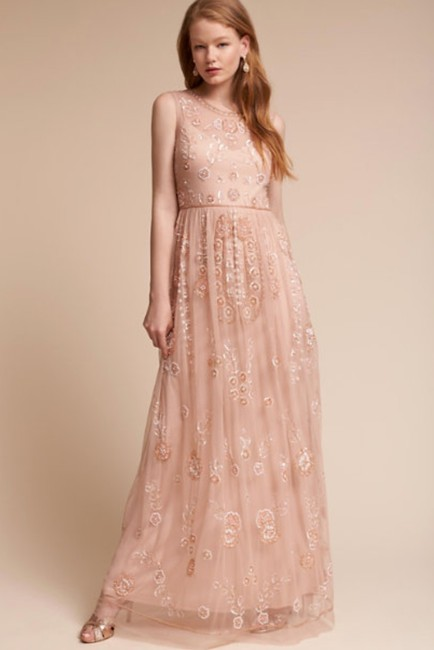 Item - Pink Abbington Beaded Flower Embellished Maxi Formal Bridesmaid/Mob Dress Size 4 (S)