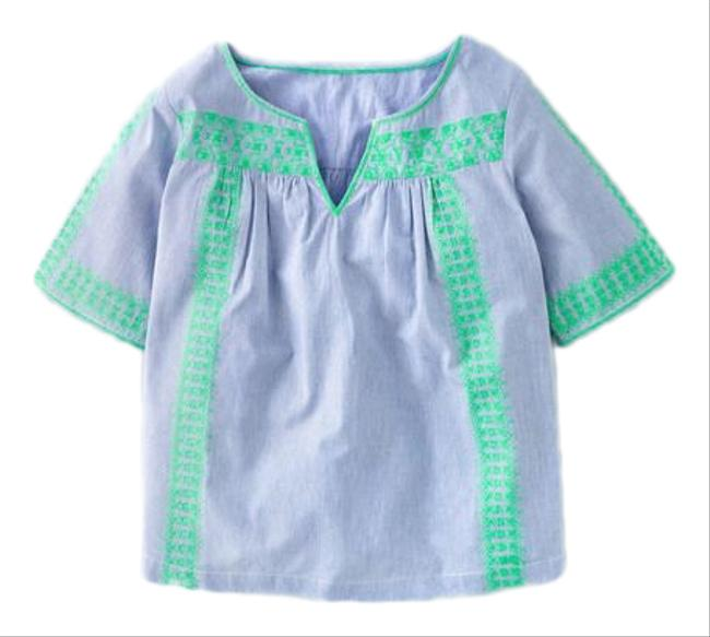 Item - Blue and Green Embroidered Blouse Size 8 (M)