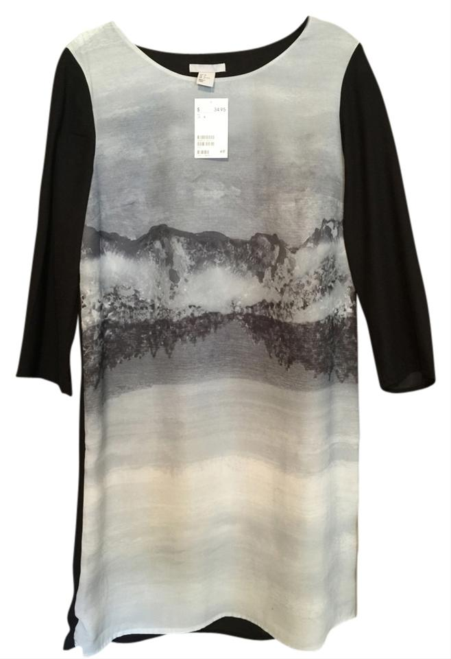 a2280ca1d339be H M Black Gray Rare Abstract And Knee Length Short Casual Dress Size ...