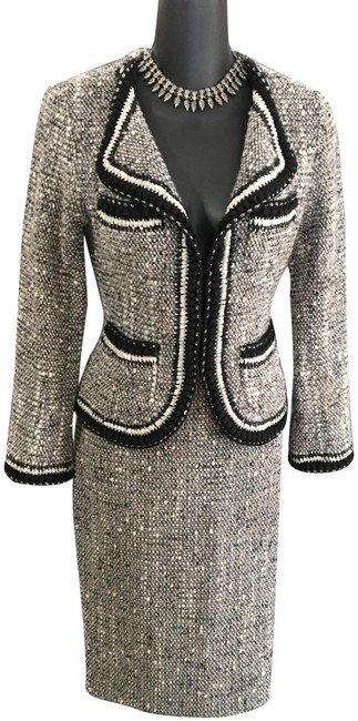 Item - Black White Gray Tan Couture Chain Knit Jacket Skirt Suit Size 2 (XS)