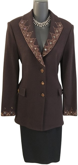 Item - Brown Evening Knit Jacket Paillettes Rhinestones Suit Blazer Size 8 (M)