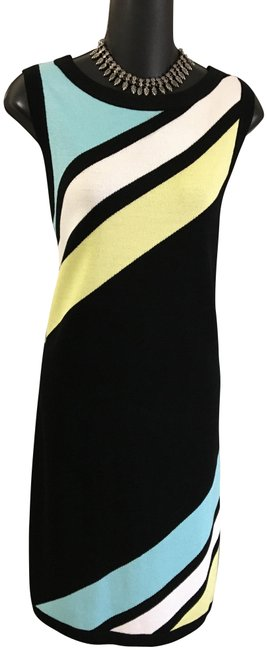 Item - Multicolor Collection Black Blue Yellow White Knit Mid-length Work/Office Dress Size 10 (M)