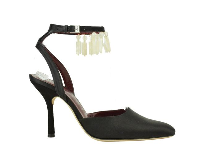 Item - Black Carla Satin Fringed Ankle Strap Heels Pumps Size EU 37 (Approx. US 7) Regular (M, B)