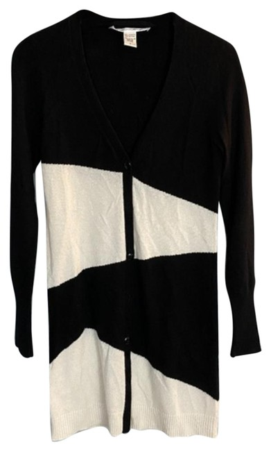 Item - Color Long Cardigan Black and White Sweater