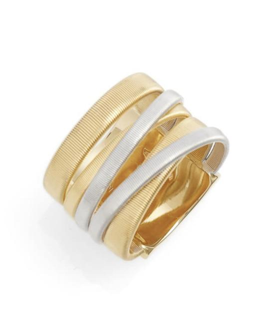 Item - Silver and Gold 18k Yellow Five Row Overlap Masai Ring