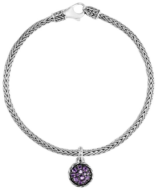 Item - Silver and Purple Charm Sterling Amethyst Classic Chain Bracelet