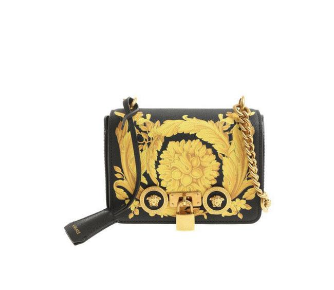Item - Barroco Icon Print Small Black and Gold Leather Cross Body Bag