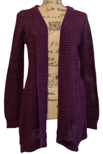 Item - Open Front Knitted Cardigan Purple Black Sweater