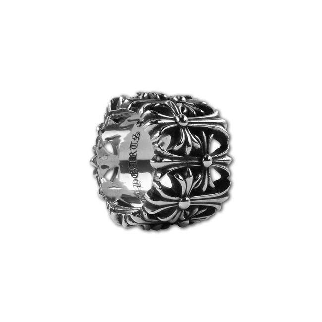 Item - Silver Multiple Round Cemetery Crosses Sizes Ring