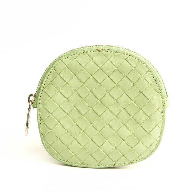 Item - Light Green Intrecciato Unisex Leather Coin Purse/Coin Case Wallet