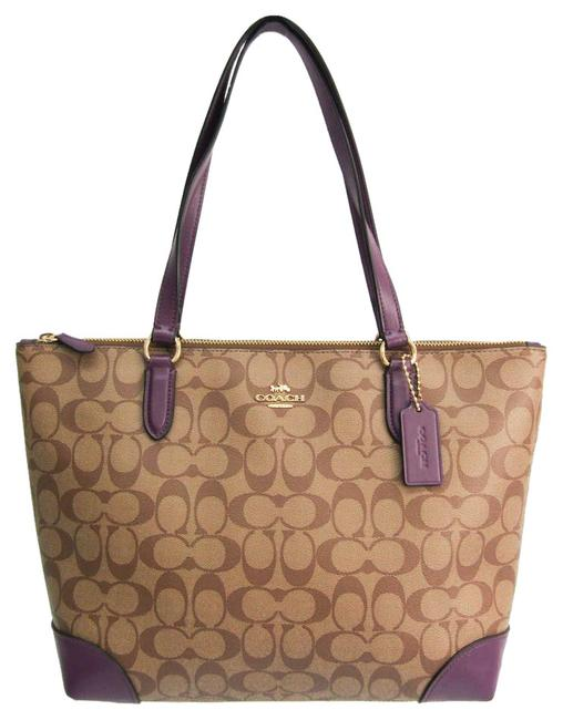 Item - Bag Signature Zip Top F29208 Women's Beige / Brown / Purple Pvc / Leather Tote