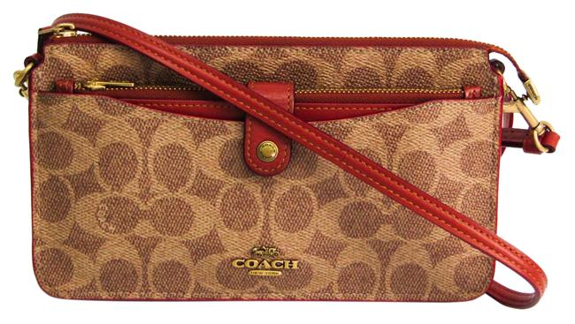 Item - Signature 37458 Women's Beige / Brown / Red Brown Coated Canvas / Leather Shoulder Bag
