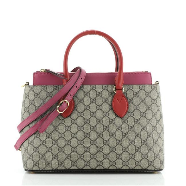 Item - Linea A Convertible Gg Coated Small Brown Pink Red Canvas Tote