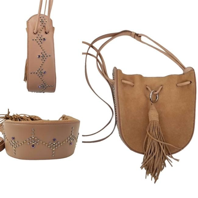 Item - Bucket Embellished Studded Bejeweled Suede Leather Cross Body Bag