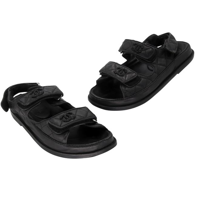 Item - Black Quilted Leather Lambskin Fabric Dad Flats 37 Sandals Size US 6 Regular (M, B)