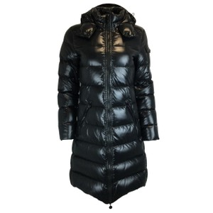 Item - Black Moka Shiny Fitted Quilted Puffer with Hood Coat