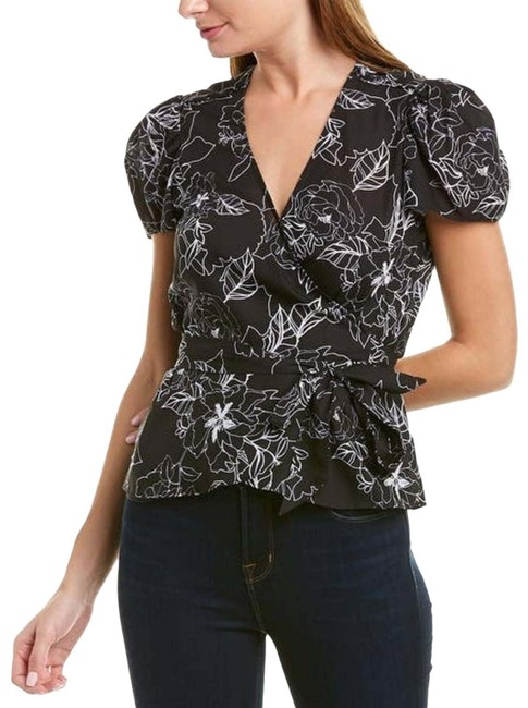 Item - Black & White Floral Puff Sleeve Wrap Blouse Size 4 (S)