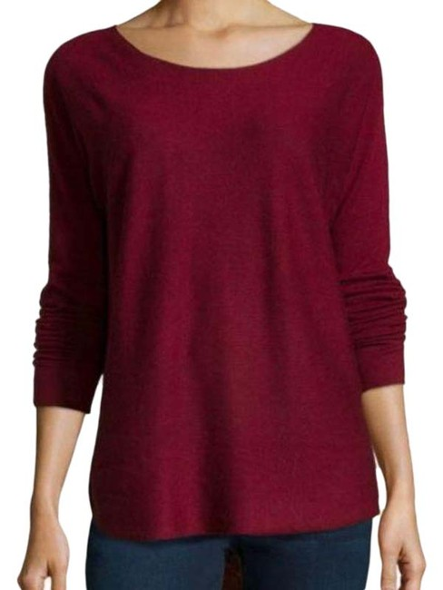 Item - L Burgundy Lightweight Wool Bateau Ballet Neck Relaxed Fit Red Sweater