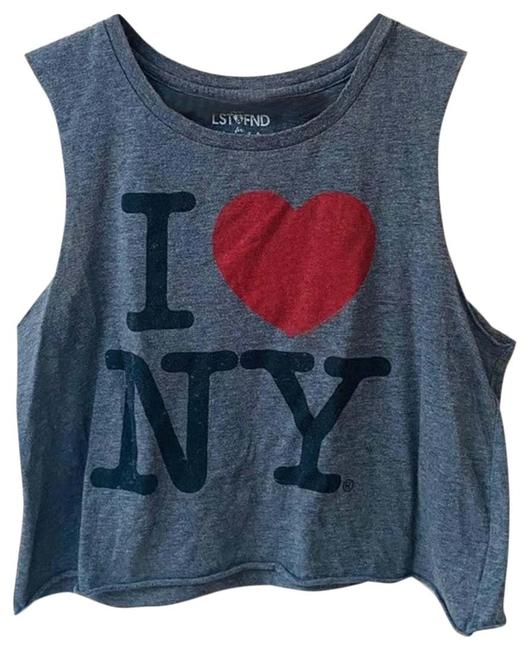 Item - Gray I Love New York Cropped Tee Tank Top/Cami Size 8 (M)
