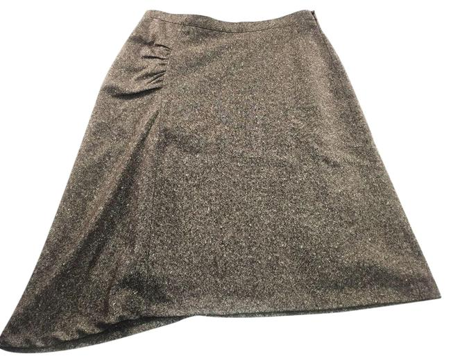 Item - Brown 0 Tweed Ruched Asymmetrical Italy Wool Skirt Size OS (one size)