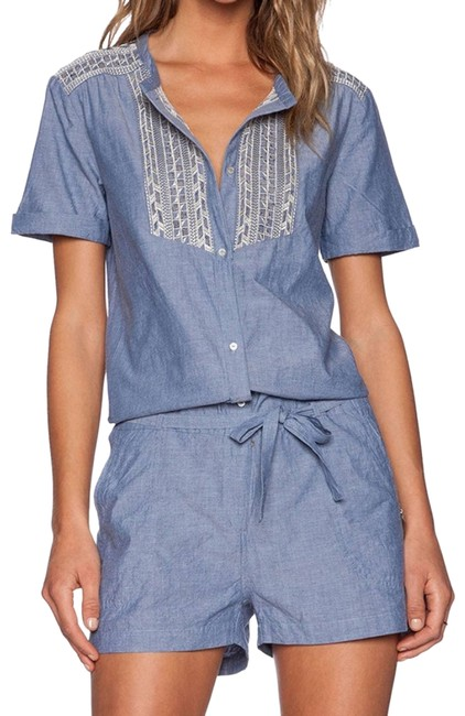 Item - Blue New Maison Embroidered Chambray Small Short Sleeve Romper/Jumpsuit