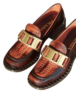 Prada Chain Gold Braided Brown, Tint of orange Mules